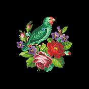 Схемы для вышивки ручной работы. Ярмарка Мастеров - ручная работа Схемы для вышивки: Попугай с цветами. Handmade.