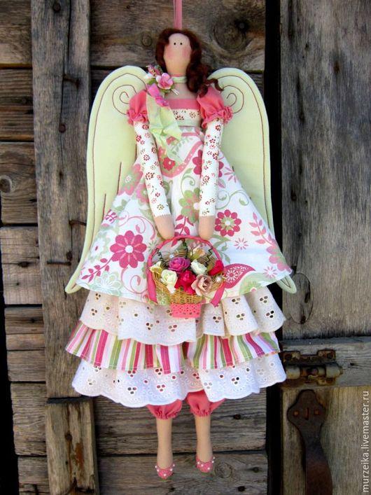 Куклы Тильды ручной работы. Ярмарка Мастеров - ручная работа. Купить Винтажный тильда ангел Лето. Handmade. Коралловый