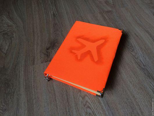 """Блокноты ручной работы. Ярмарка Мастеров - ручная работа. Купить Блокнот """"Самолет"""". Handmade. Оранжевый, блокнот для записей, блокнот из ткани"""