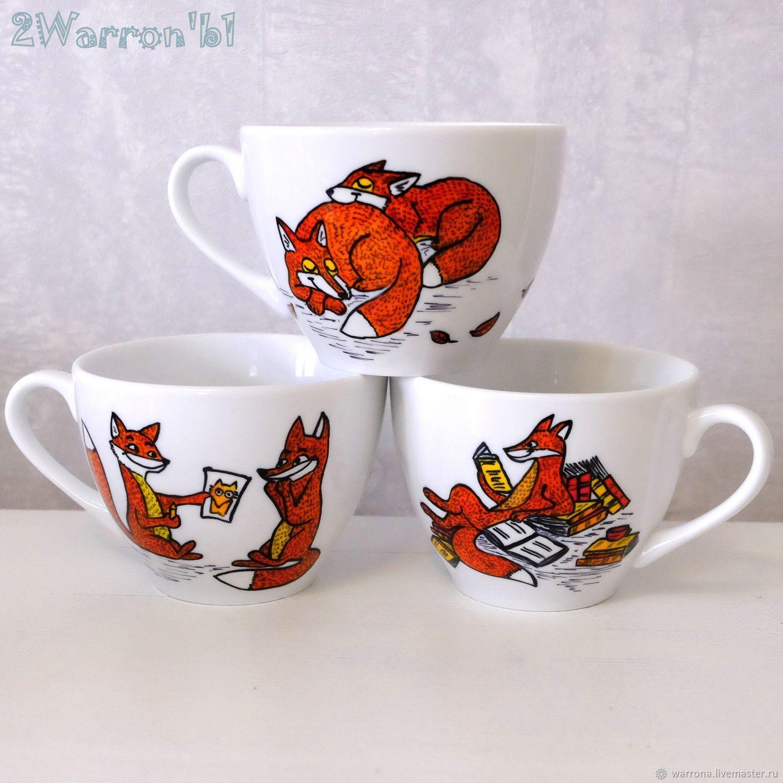 Чашка с блюдцем Лисички, ручная роспись, Чайные пары, Москва, Фото №1