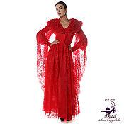 """Одежда ручной работы. Ярмарка Мастеров - ручная работа Роскошное кружевное платье-пальто """"Королева ночи"""" ярко-красное. Handmade."""