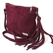 Сумки и аксессуары handmade. Livemaster - original item Crossbody Bag Suede Burgundy Crossbody Bag for Phone. Handmade.
