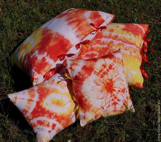 """Текстиль, ковры ручной работы. Ярмарка Мастеров - ручная работа. Купить Подушки """"Лето"""" -комплект из 4-х шт.. Handmade."""