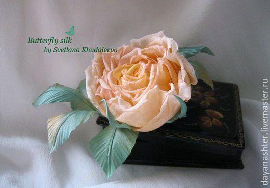 Броши ручной работы. Ярмарка Мастеров - ручная работа. Купить Чайная роза. Шелк. Handmade. Кремовый, цветы из шелка