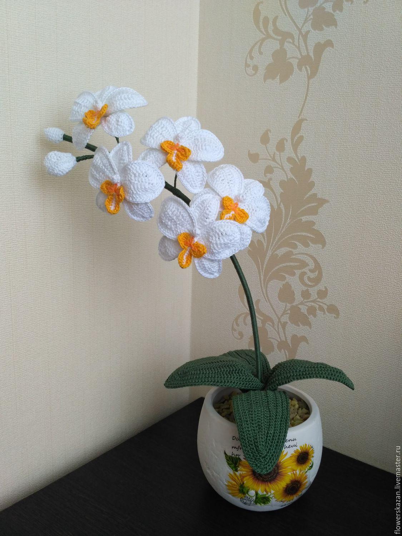 Вязание крючком цветок в горшочке 10