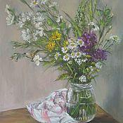 """Картины ручной работы. Ярмарка Мастеров - ручная работа Авторский натюрморт """"полевые цветы"""" картина маслом. Handmade."""