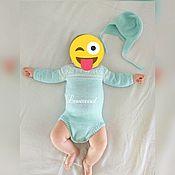 Работы для детей, ручной работы. Ярмарка Мастеров - ручная работа комлект для новорожденного- Боди+шапочка+слингобусы. Handmade.