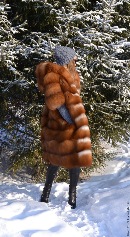 Longline vest hooded Fox fur - moth, Vests, Omsk,  Фото №1