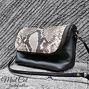 Сумки и аксессуары handmade. Livemaster - original item A handbag made of genuine leather and Python skin. Handmade.