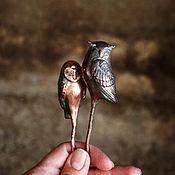 Украшения ручной работы. Ярмарка Мастеров - ручная работа заколка медная сова. Handmade.