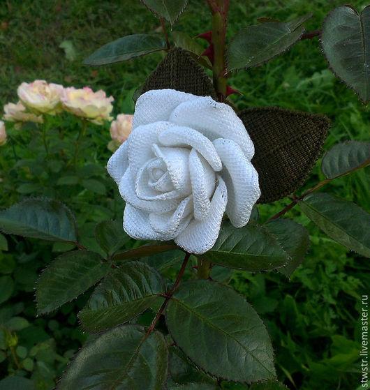Броши ручной работы. Ярмарка Мастеров - ручная работа. Купить Белая роза. Handmade. Белый, вязаная брошь, подарок подруге
