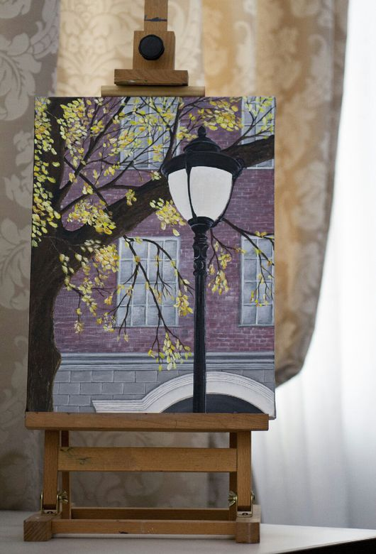 Город ручной работы. Ярмарка Мастеров - ручная работа. Купить Осенний свет. Handmade. Фонарь, листья, осенние листья, дерево