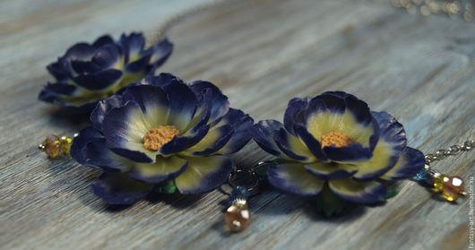 Колье, бусы ручной работы. Ярмарка Мастеров - ручная работа. Купить Колье из полимерной глины - Ночные цветы. Handmade.