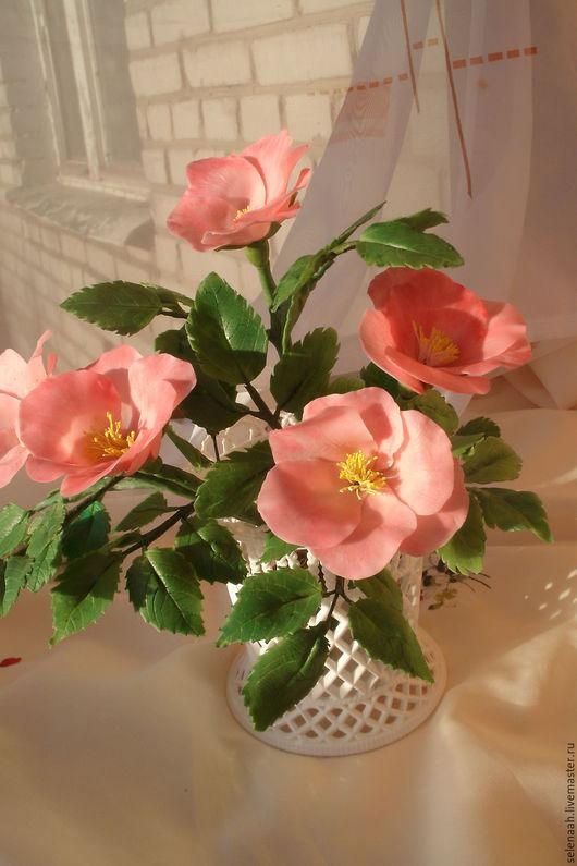 Цветы ручной работы. Ярмарка Мастеров - ручная работа. Купить Цветы шиповника из полимерной глины. Handmade. Розовый, полимерная глина