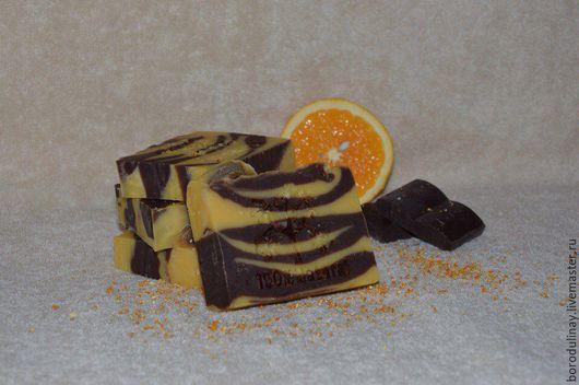 Мыло ручной работы. Ярмарка Мастеров - ручная работа. Купить Натуральное мыло АПЕЛЬСИН И ШОКОЛАД. Handmade. Разноцветный, апельсин