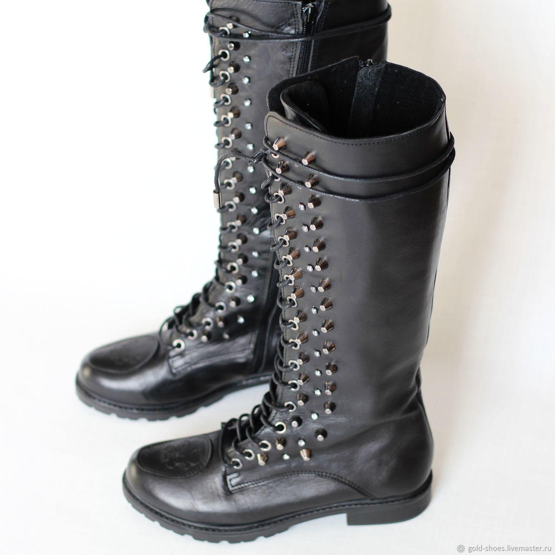 Обувь ручной работы. Ярмарка Мастеров - ручная работа. Купить Сапоги со стразами и кепками. Handmade. Обувь на заказ