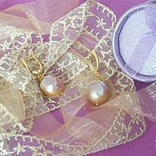 Украшения handmade. Livemaster - original item Elegant Laconic Golden Lavender Baroque Kasumi Pearl Earrings. Handmade.