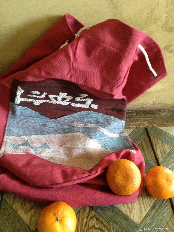 Тканевый рюкзачок из старинного пояса оби с тканым рисунком, Рюкзаки, Москва,  Фото №1