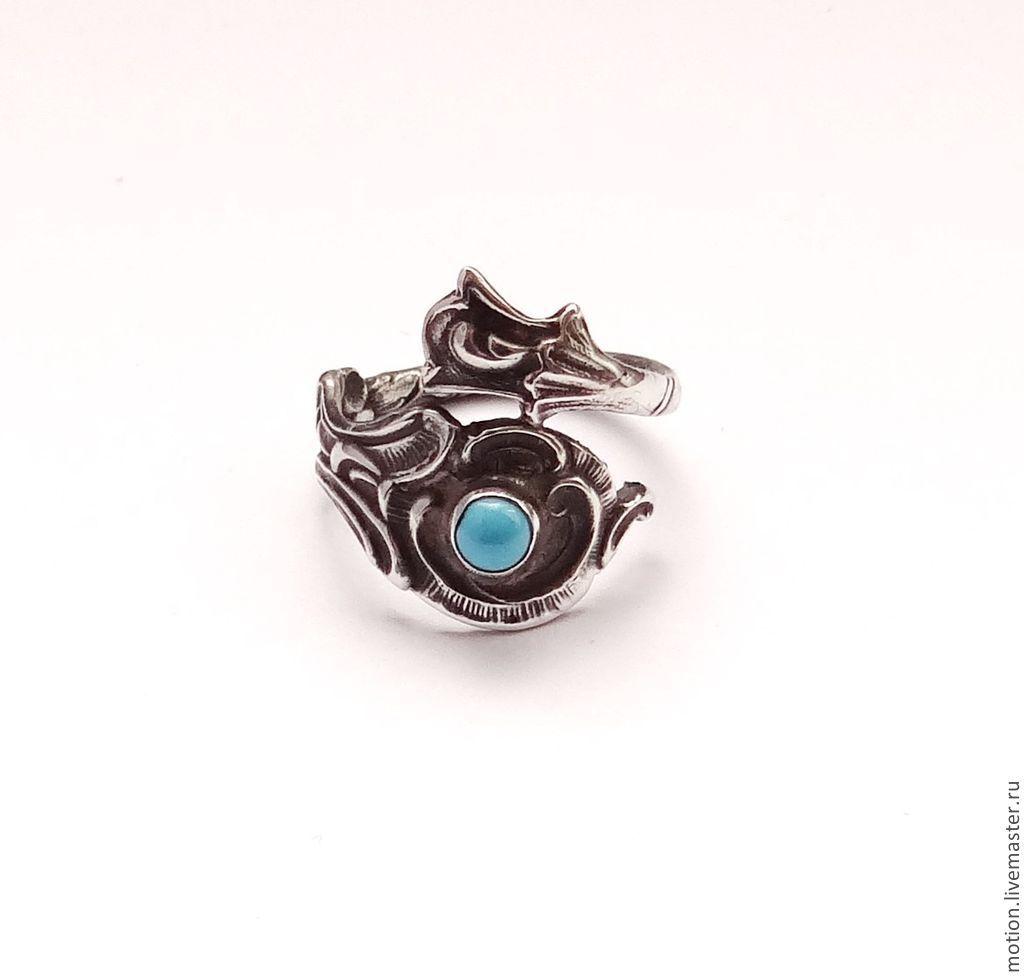 Серебряное колечко с круглой бирюзой, Кольца, Ереван, Фото №1