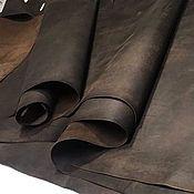 Материалы для творчества handmade. Livemaster - original item Leather: Vinci. 1,2-1,4 mm. dark brown. Italy. Handmade.
