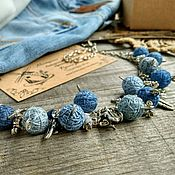 Украшения handmade. Livemaster - original item Corto de Perlas en la Cadena de Dril de algodón de Estilo Textil Collar Azul Boho. Handmade.