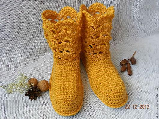 """Обувь ручной работы. Ярмарка Мастеров - ручная работа. Купить """"Ажур"""" горчичные, сапожки для дома (валяная подошва). Handmade. Оранжевый"""
