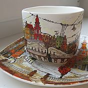 "Посуда ручной работы. Ярмарка Мастеров - ручная работа Чайная пара ""Старый проспект"". Handmade."