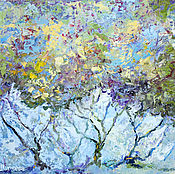 """Картины и панно ручной работы. Ярмарка Мастеров - ручная работа """"Миндаль в Моем Саду"""" - пейзаж маслом с деревьями. Handmade."""