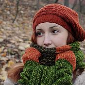 Аксессуары ручной работы. Ярмарка Мастеров - ручная работа Стильная кирпичная вязаная шапочка унисекс. Handmade.