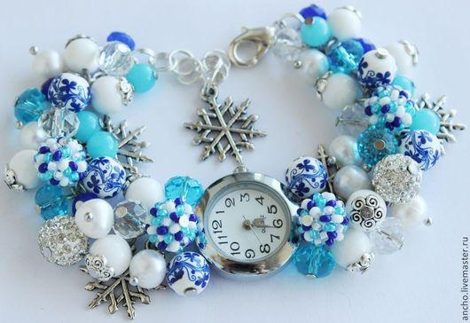 """Часы ручной работы. Ярмарка Мастеров - ручная работа. Купить Часы """"Снежинки"""". Handmade. Голубой, часы, подарок девушке"""