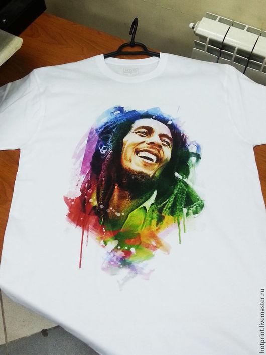"""Футболки, майки ручной работы. Ярмарка Мастеров - ручная работа. Купить Футболка (х/б) """"Bob Marley"""". Handmade. Хлопок, футболка"""