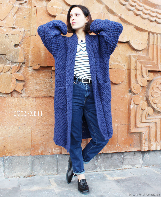 Outer Clothing handmade. Livemaster - handmade. Buy Coat womens large viscous.Blue, demi-season coat