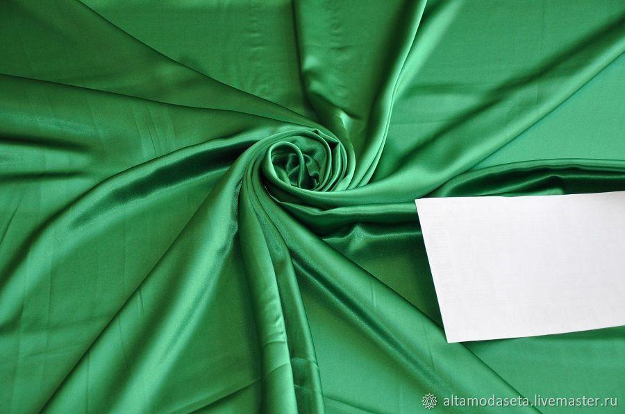 Атласный шелк зеленого цвета, Ткани, Москва,  Фото №1
