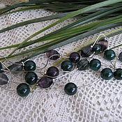 Украшения handmade. Livemaster - original item kit beads earrings summer storm, purple green agate fluorite summer. Handmade.
