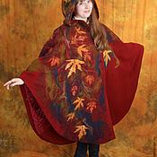 Пальто-пончо Леди Осень с рисунком из шерсти