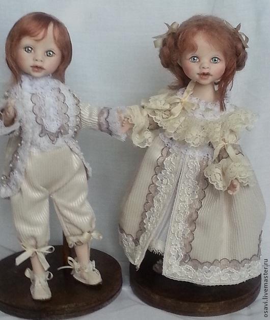 Коллекционные куклы ручной работы. Ярмарка Мастеров - ручная работа. Купить Пара. Handmade. Полимерный пластик, вельвет, трессы, хлопок