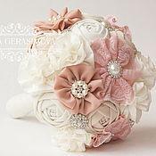 Свадебный салон ручной работы. Ярмарка Мастеров - ручная работа Хлопковый Брошь Букет невесты пудровый розовый. Handmade.