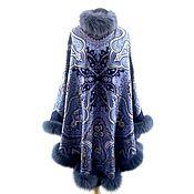 Одежда handmade. Livemaster - original item Poncho: Coat Poncho from pavlogoradsky scarves with natural fur. Handmade.