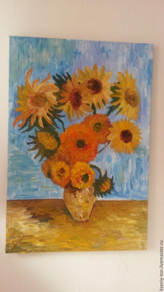 Картины цветов ручной работы. Ярмарка Мастеров - ручная работа. Купить копия Подсолнухи. Handmade. Желтый, копия ван гог