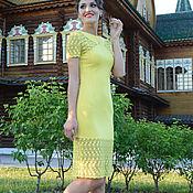 Одежда ручной работы. Ярмарка Мастеров - ручная работа 269: кружевное платье на лето, летнее платье с кружевом, желтое. Handmade.