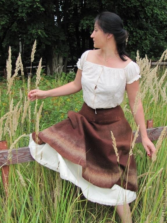 Felted skirt 'Chocolate', Klimkin Galina, Skirts, Losino-Petrovsky,  Фото №1
