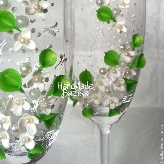 Свадебные аксессуары ручной работы. Ярмарка Мастеров - ручная работа. Купить Свадебные бокалы. Handmade. Зеленый, нежные бокалы для свадьбы