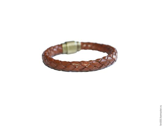 Браслеты ручной работы. Ярмарка Мастеров - ручная работа. Купить Кожаный браслет - плетенка светло коричневый. Handmade. Коричневый