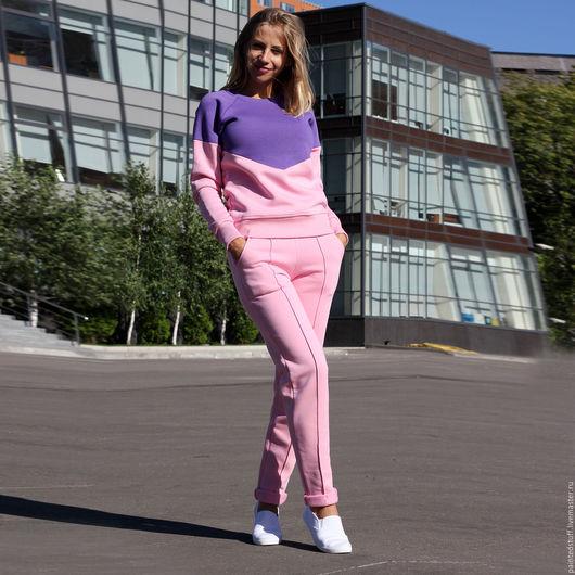 Кофты и свитера ручной работы. Ярмарка Мастеров - ручная работа. Купить Костюм женский спортивный.. Handmade. Розовый, двухцветный, комплект