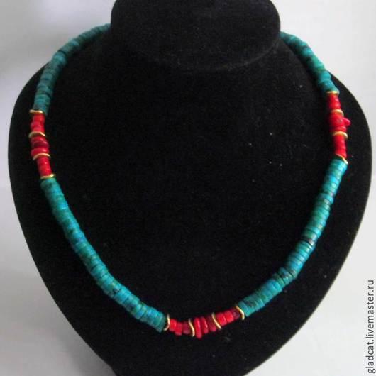 Колье, бусы ручной работы. Ярмарка Мастеров - ручная работа. Купить Ожерелье, бусы, хризоколла и коралл. Handmade. Разноцветный