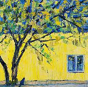 Картины и панно ручной работы. Ярмарка Мастеров - ручная работа Картина пейзаж кот Желто-синее. Handmade.
