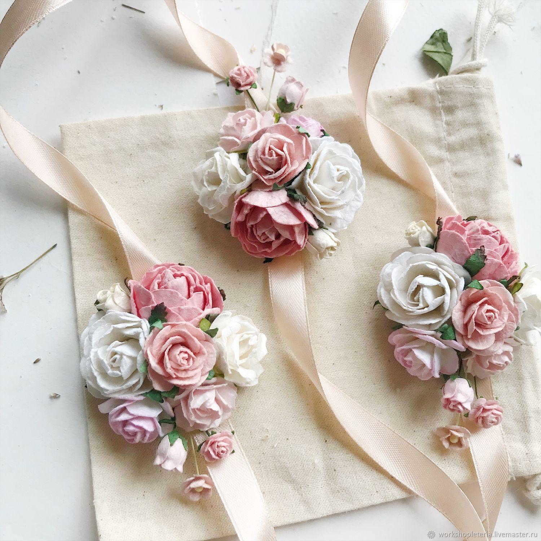 Браслет для подружек невесты с розовыми и персиковыми цветами, Браслеты, Санкт-Петербург,  Фото №1