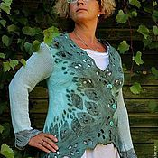"""Одежда ручной работы. Ярмарка Мастеров - ручная работа Жакет валяный """"За рекой, в тени деревьев"""". Handmade."""