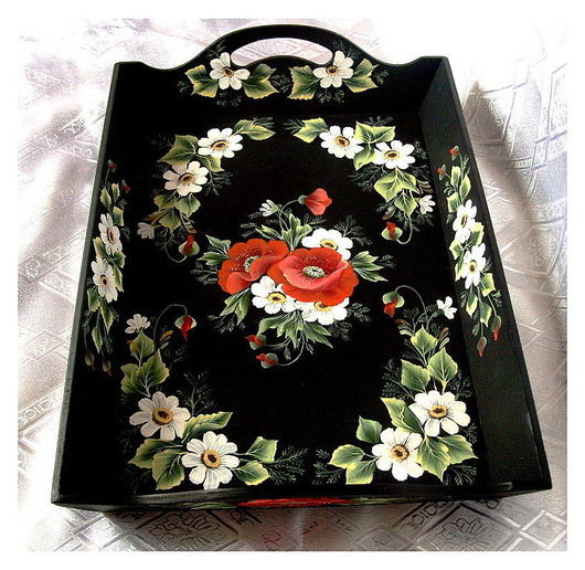 Kitchen handmade. Livemaster - handmade. Buy Tray wood 'wild flowers'-2.Tray, wooden tray, tray with poppies