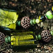 """Украшения ручной работы. Ярмарка Мастеров - ручная работа Бусы """"Погружение в зеленый"""". Handmade."""